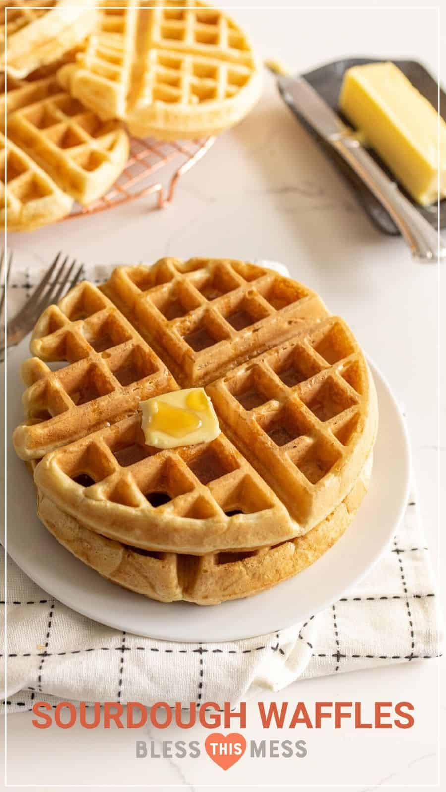 sourdough waffles on recipe pin