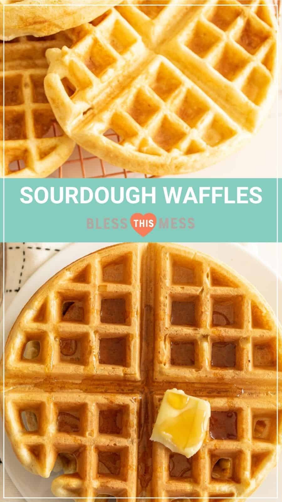 sourdough waffles recipe pin