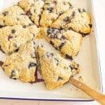 blueberry scones cut into servings