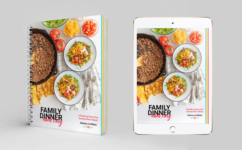 Family Dinner Made Easy spiral bound book and tablet ebook