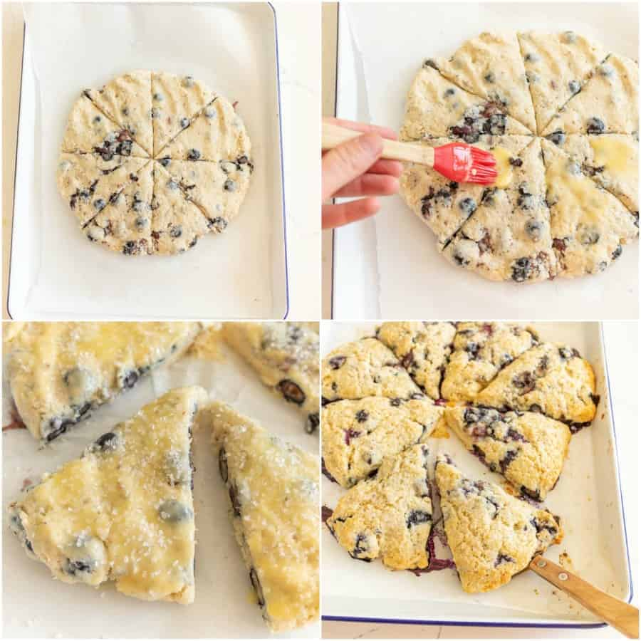 collage image of how to prepare blueberry cream scones