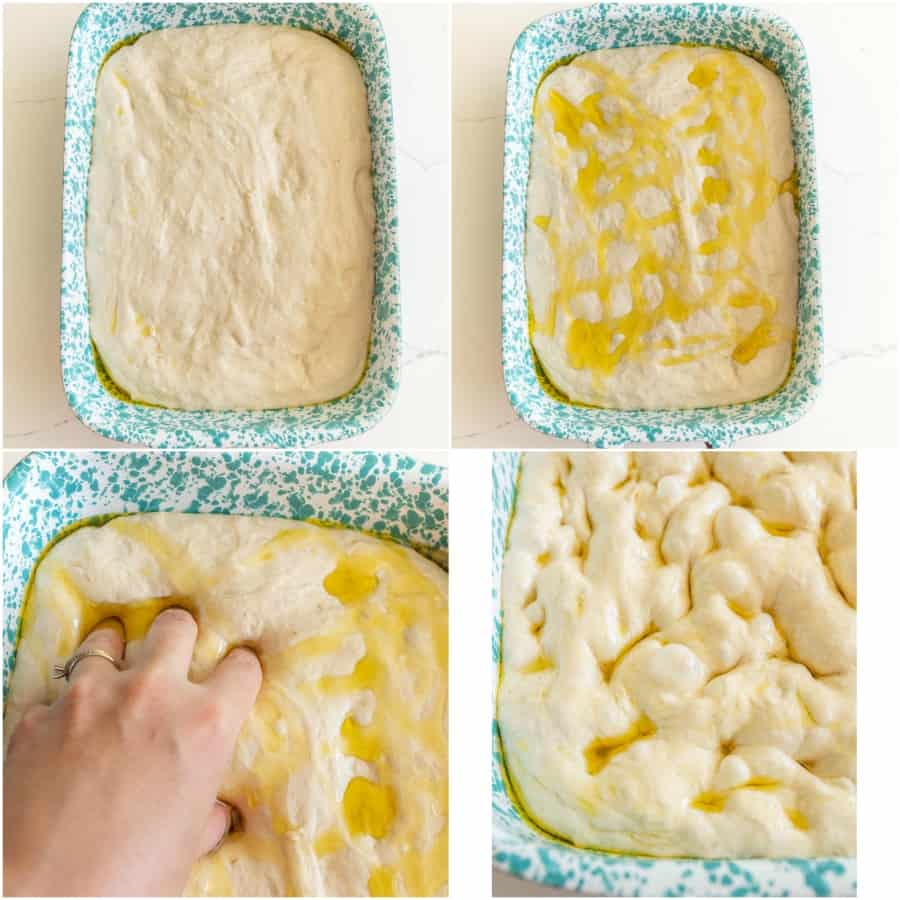 collage of step by step photos on how to make focaccia bread
