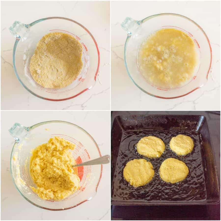 how to make hot water cornbread collage image