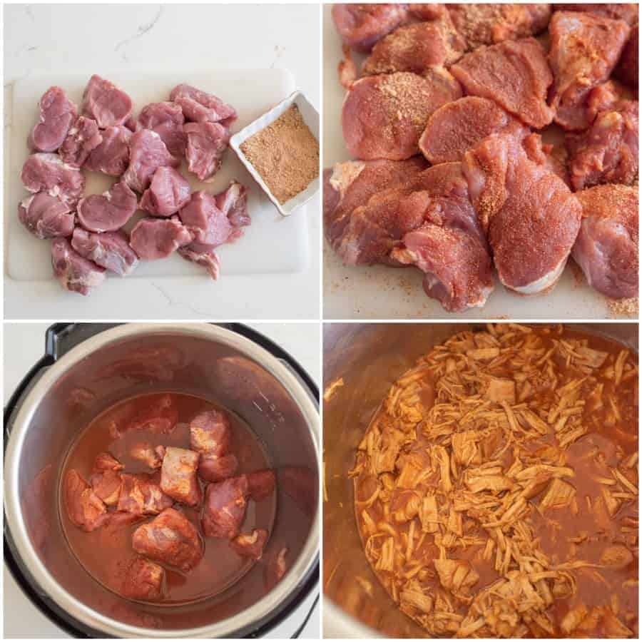 collage for steps for making pulled pork in the instant pot