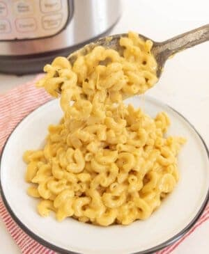 finished macaroni and cheese spooned into dish