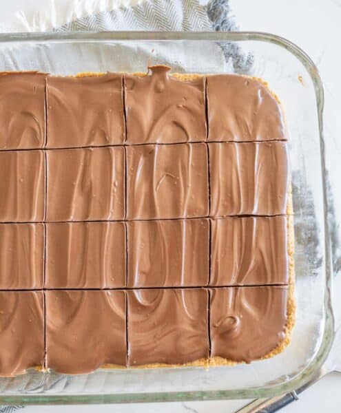 pan of peanut butter bars cut into pieces