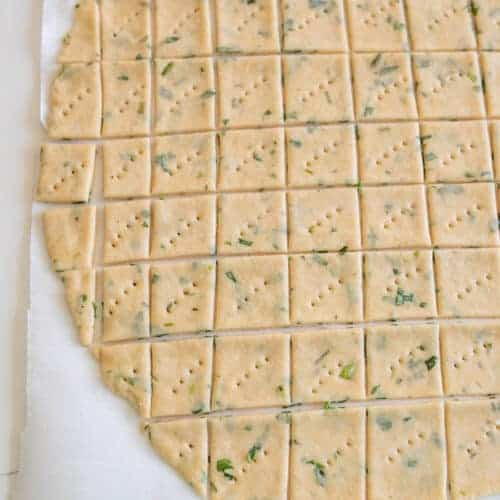 Herb and Garlic Sourdough Crackers