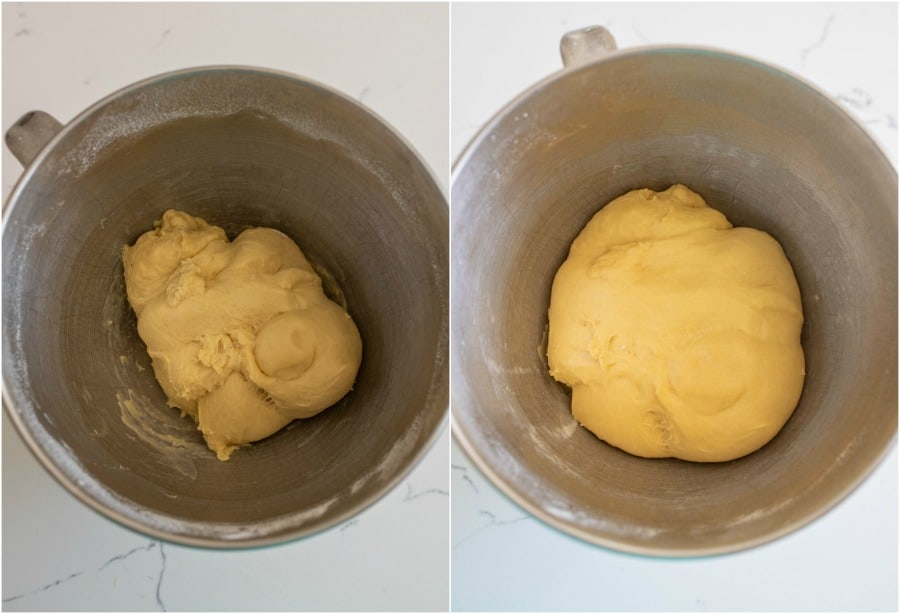 donut dough after mixing and after rising in metal bowl