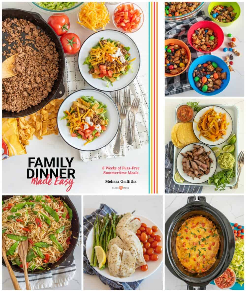 collage of book cover and recipe pictures