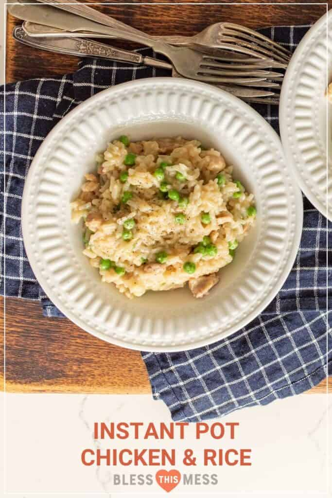 simple instant pot chicken & rice pin image