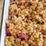 easy strawberry rhubarb crisp in baking pan pin