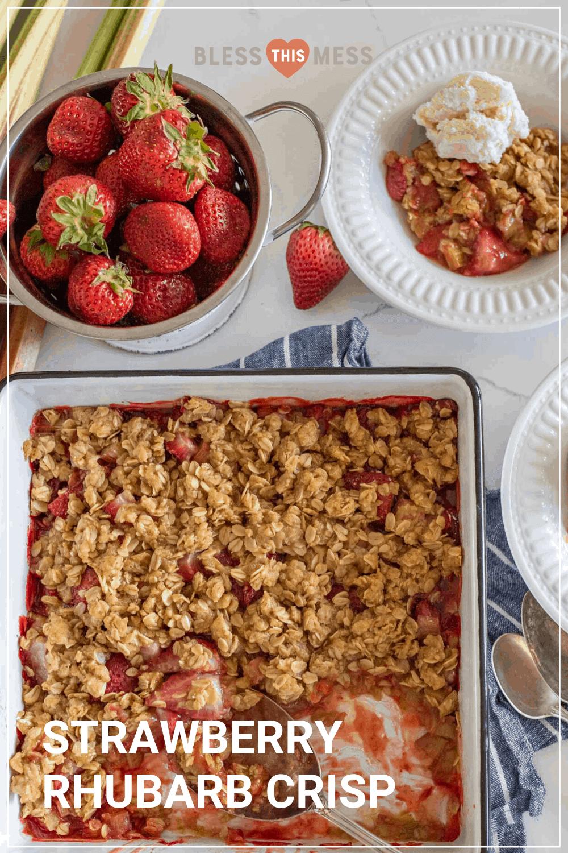 strawberry rhubarb crisp recipe pin