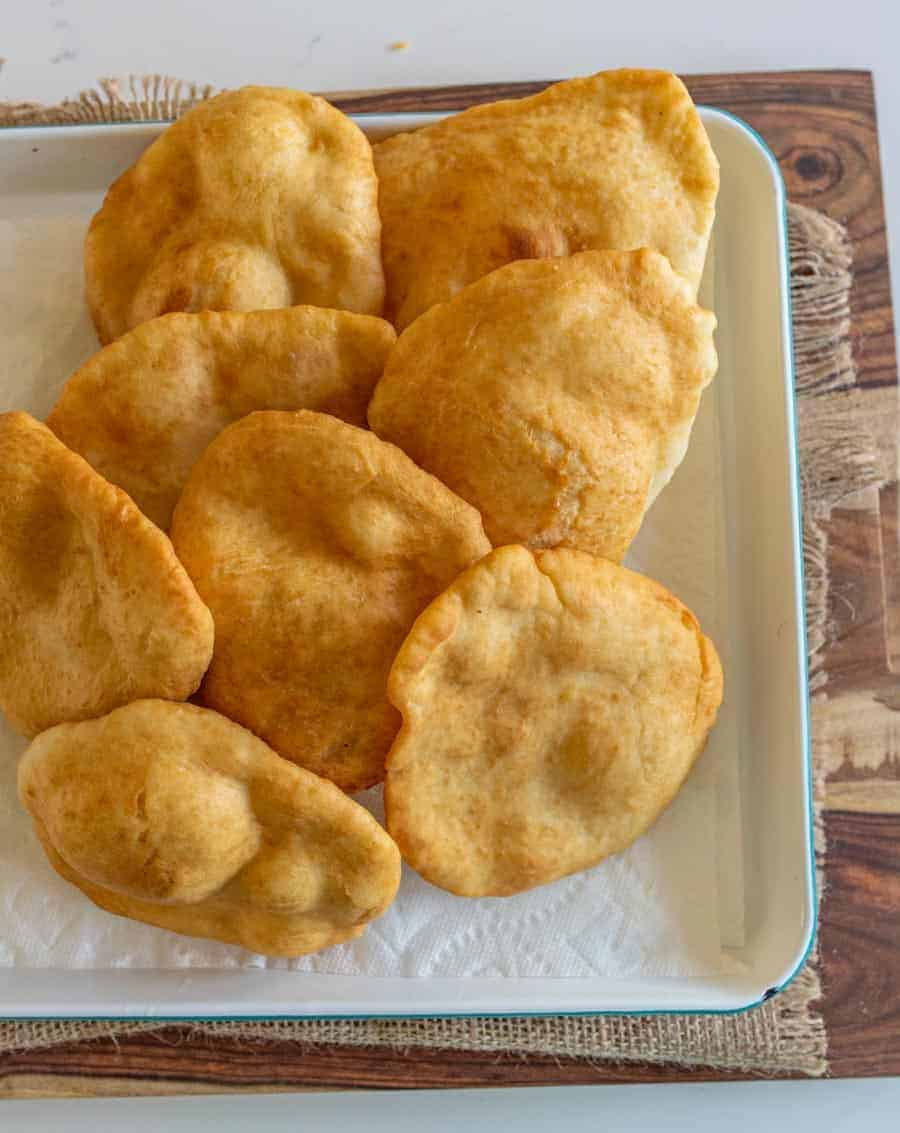pan of cooked frybread ready to eat