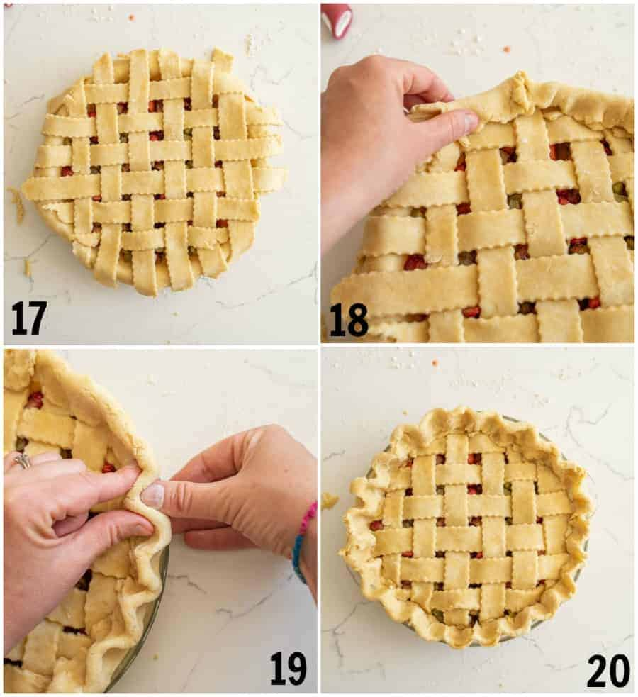 how to lattice a pie crust numbered steps photo collage