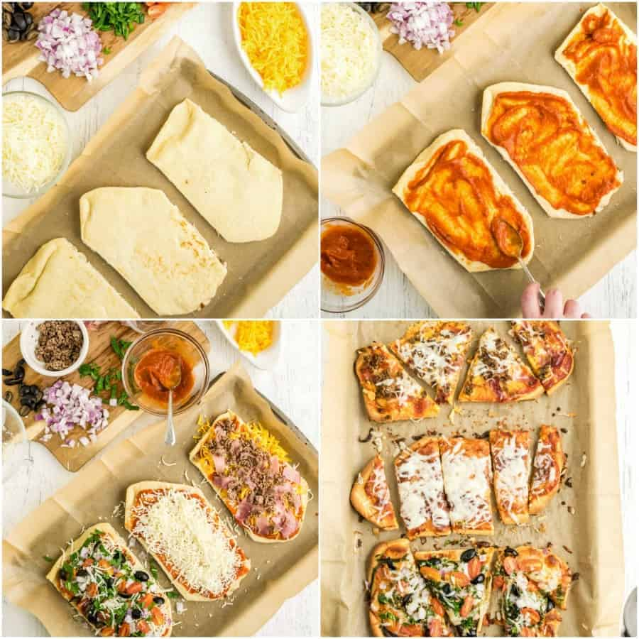 how to make flatbread pizza 4 picture collage