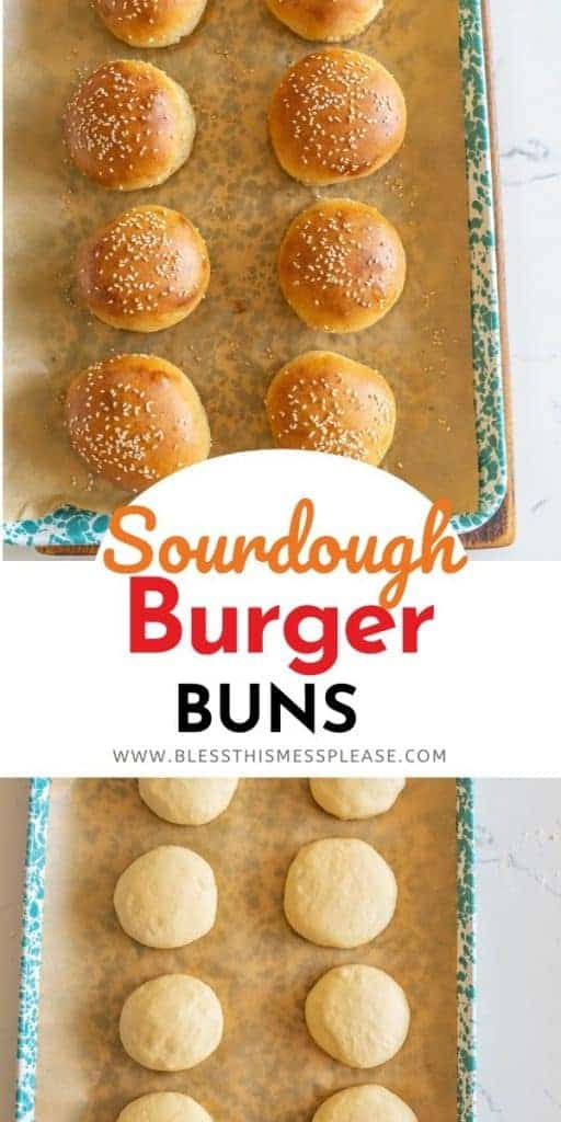 pin with text of sourdough buns recipe
