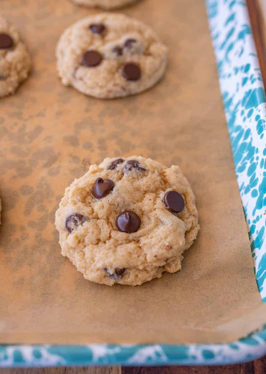 slow up of cookie with melted chocolate chips