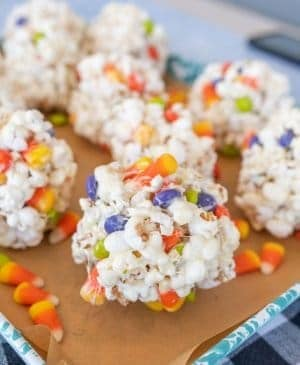 halloween popcorn balls with candy corn