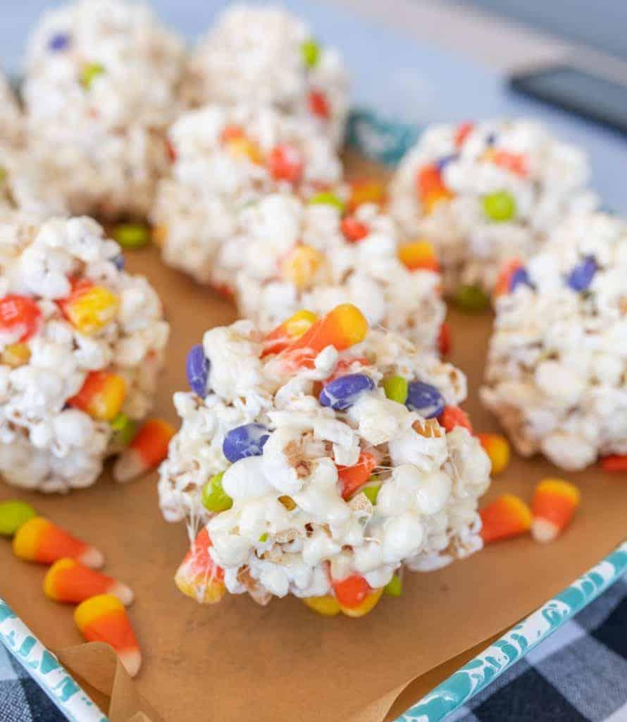 halloween popcorn balls with candy corn