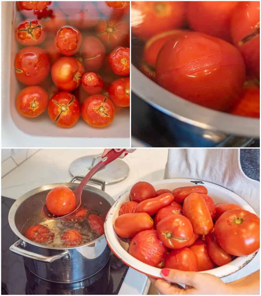 washing and blanching tomatoes
