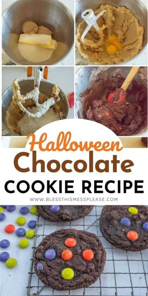 collage of pictures showing steps to make M&M halloween chocolate cookies