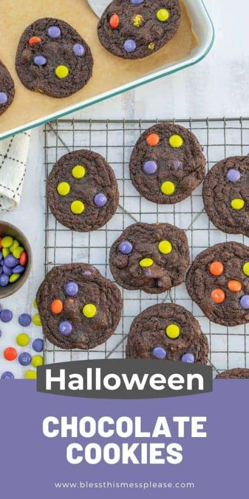 cute Halloween M&M cookies with text on the image