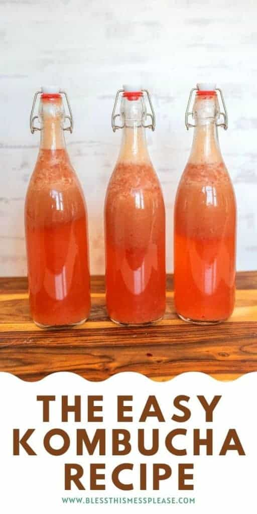 three bottles of pink kombucha with text on image