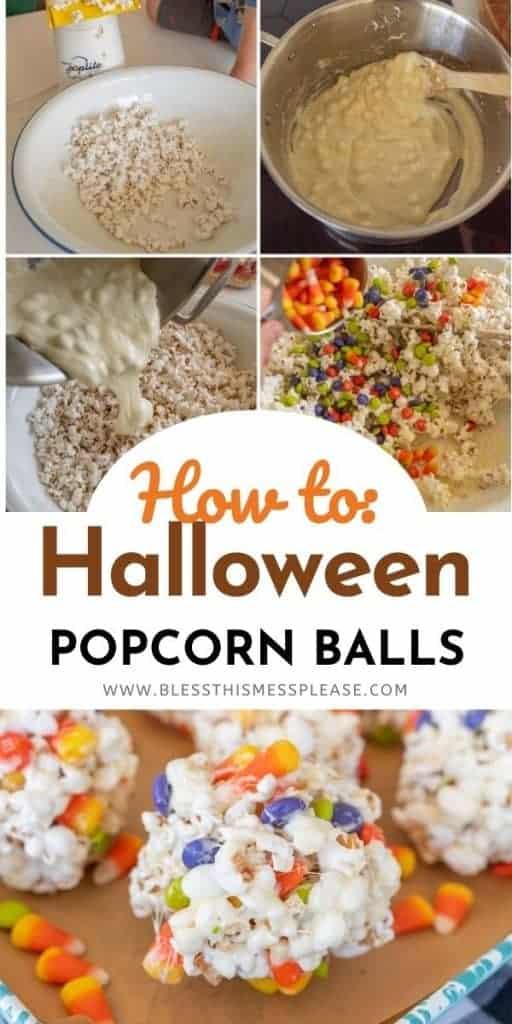 steps to make no bake halloween popcornballs and candy corn on a baking sheet