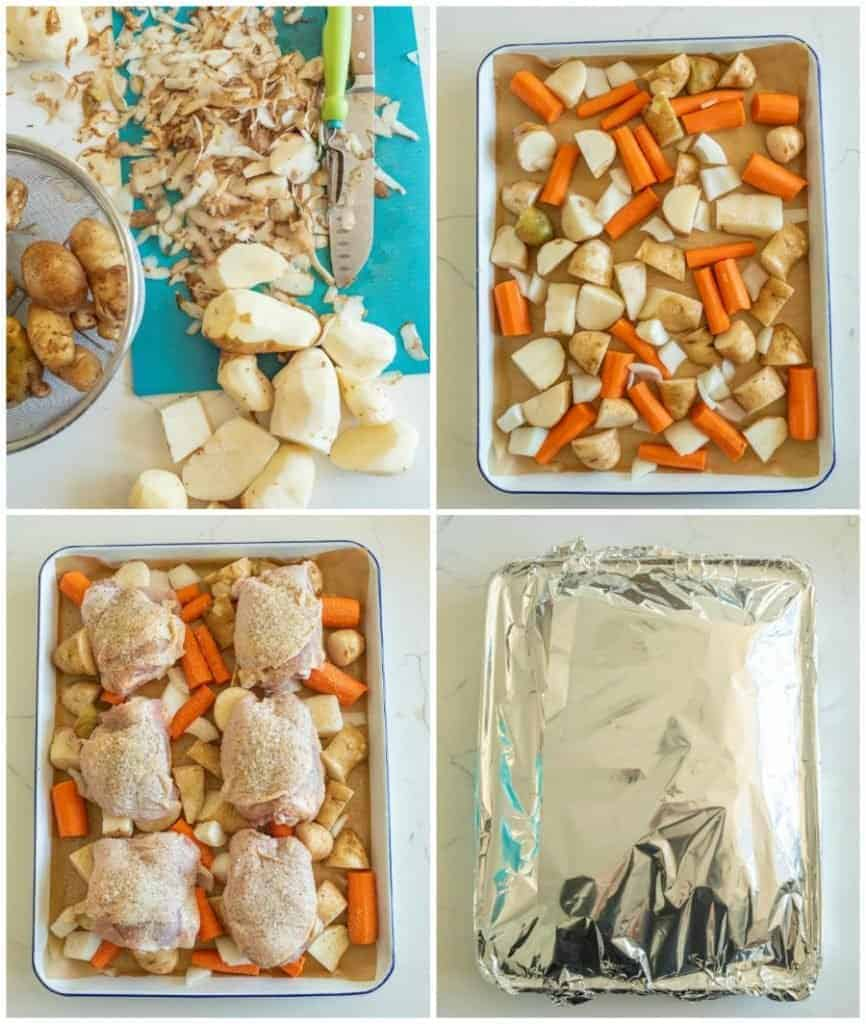 collage of steps to make roasted chick thighs, potatoes, corn and oinions