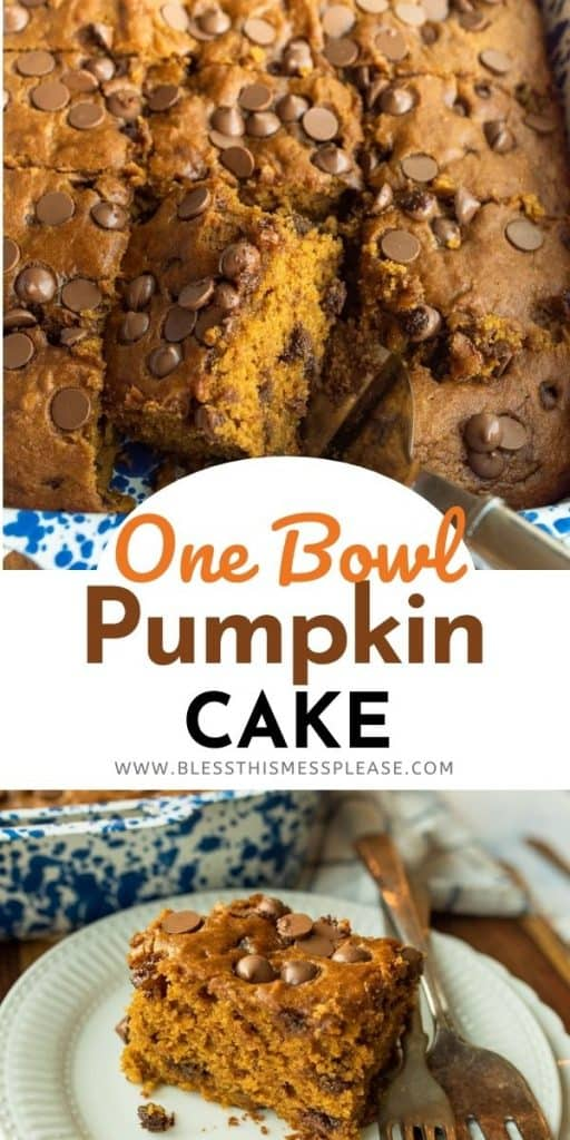 pin for pumpkin pie cake with text