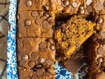 pumpkin cake in blue pan, cut in pieces
