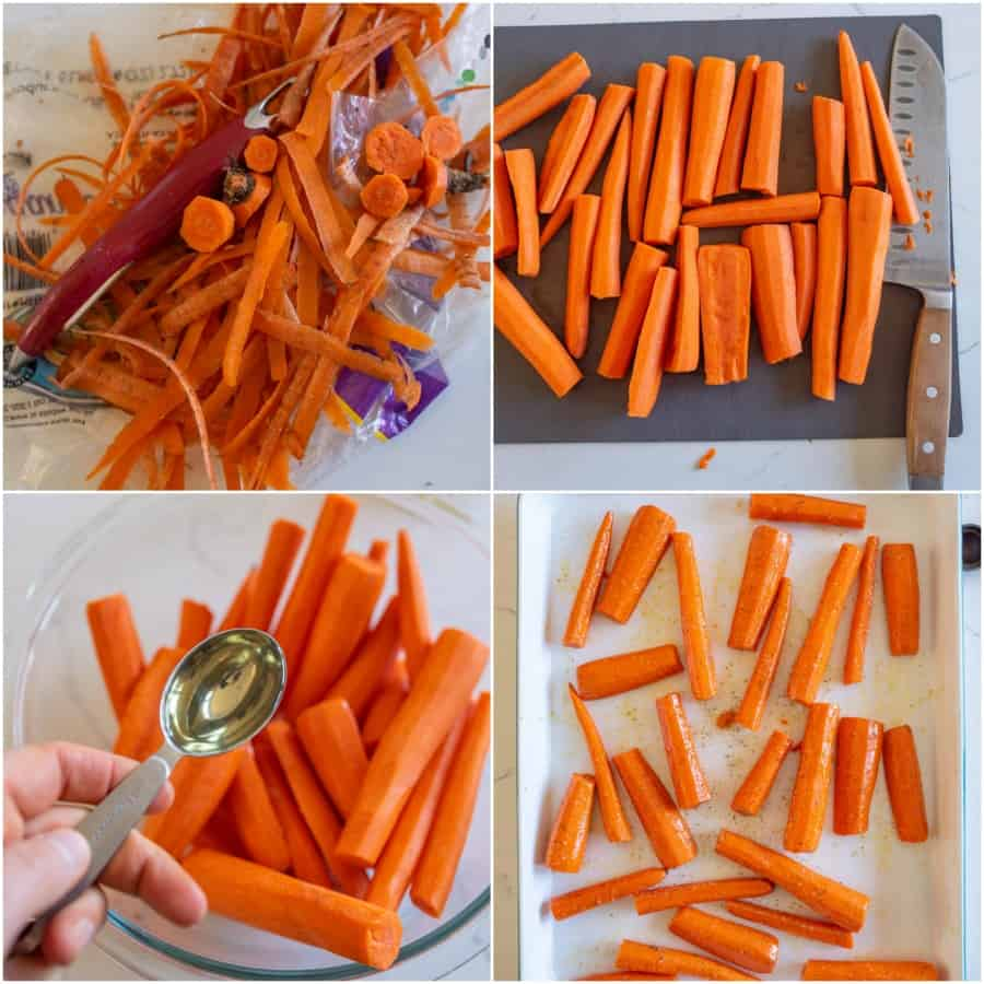 collage on how to roast carrots