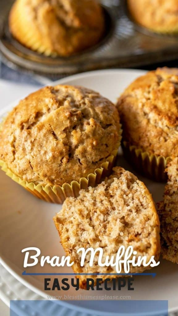 whole and sliced bran muffins on a plate