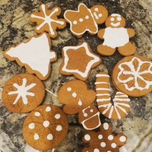 assorted gingerbread cookies with frosting
