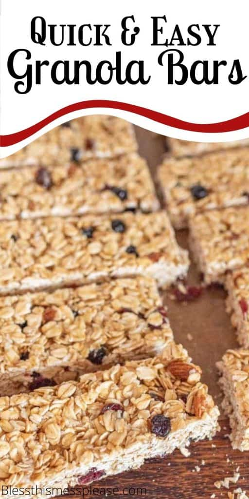 "picture of granola bars on a wood cutting board with the words ""quick and easy granola bars"" written on the top"