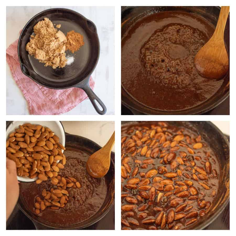 Four photo collage on how to make candied almonds. The first photo is of the ingredients in a cast iron skillet. The second photo is of the bubbling mixture being stirred. The third photo is of the almonds being poured into the mixture. The last photo is of everything mixed together.