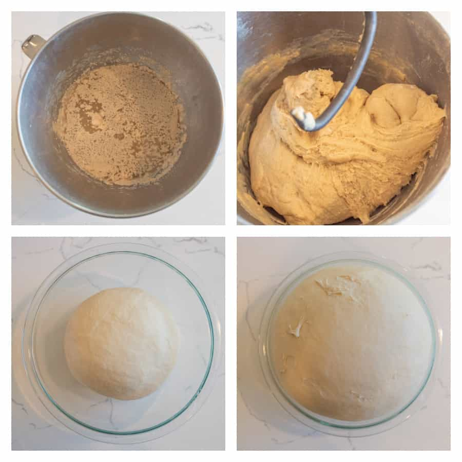 Four photo collage on how to make sandwich bread. The first photo is a mixing bowl with the yeast being proofed. The second photo is of the bread dough mixed in the bowl with a dough hook. The third photo is of the bread dough in a glass bowl before rising. The last photo is of the dough after rising.