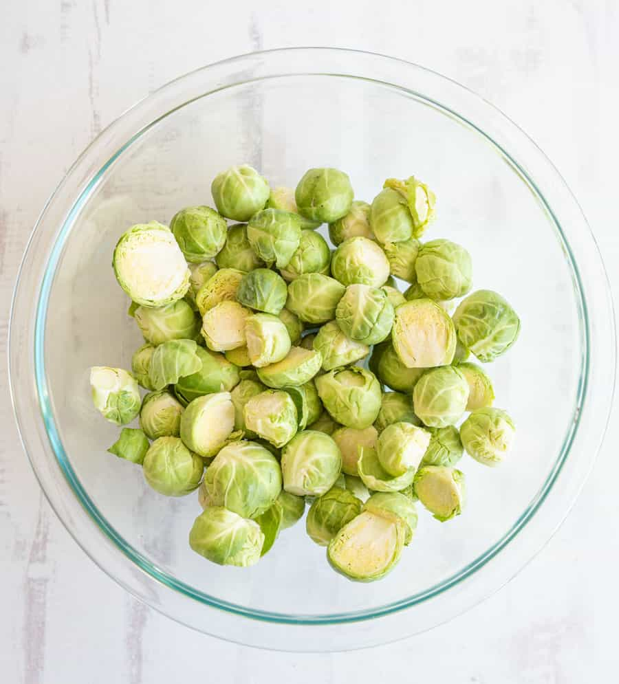 brussel sprouts in a glass bowl