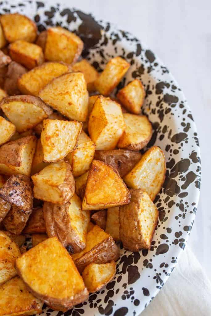 bowl of diced roasted red potatoes
