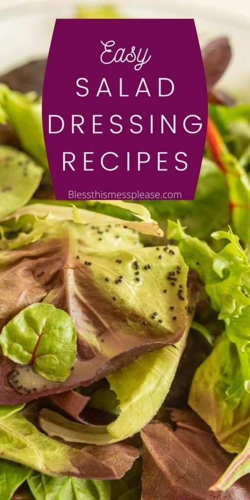 "picture of leafy greens with salad dressing on it with the words ""easy salad dressing recipes"" written on the top"