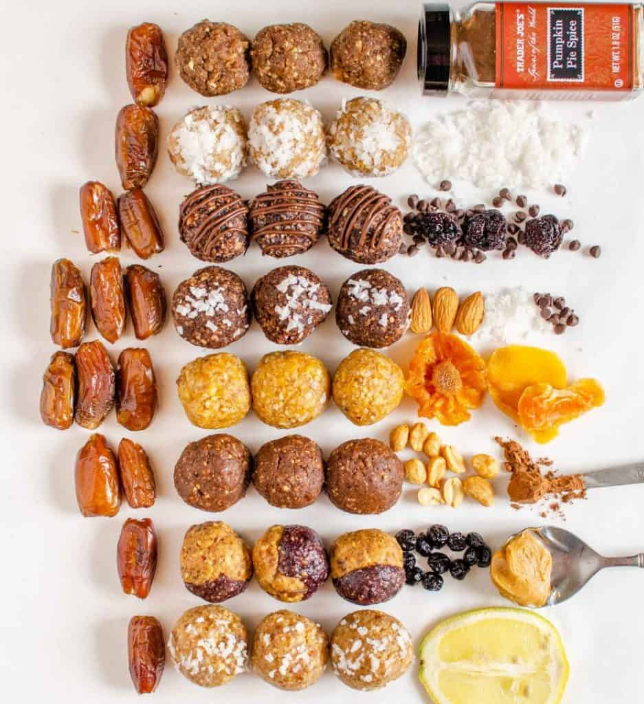 Photo of the ingredients for date energy bites surrounding the energy balls