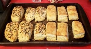 pan of sourdough biscuits