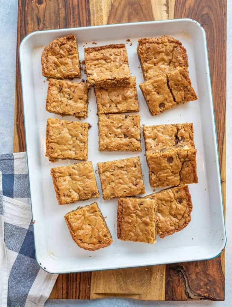 top view of blondies cut into squares on a tray