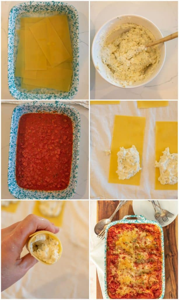 collage on how to make manicotti