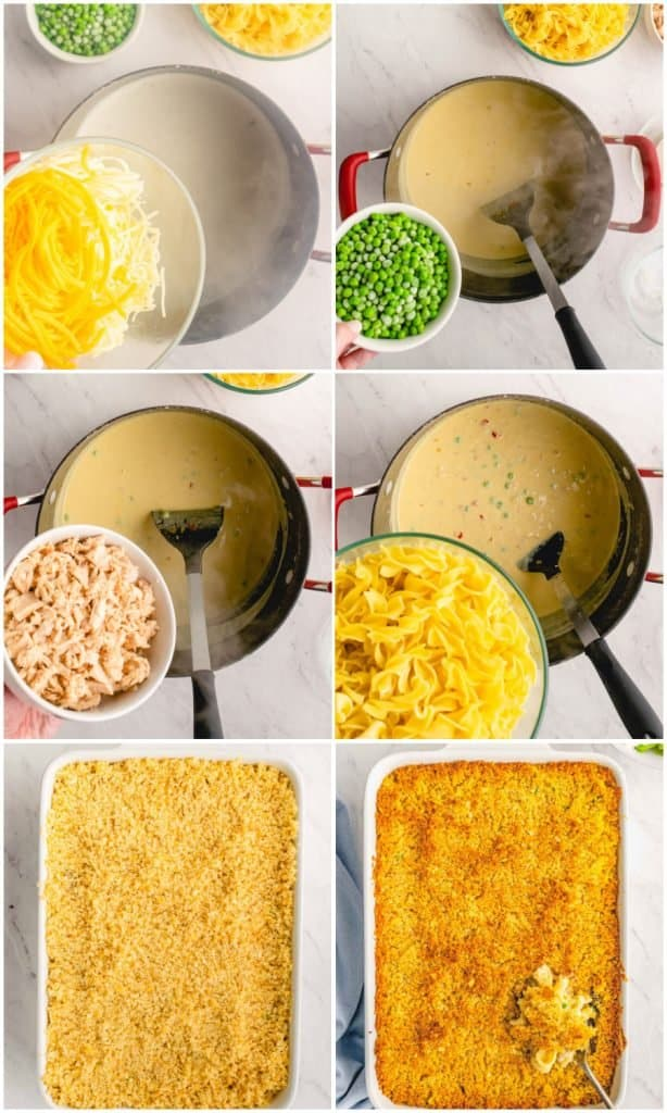 six photo collage of how to make tuna noodle casserole. The top left picture is of cheese being poured into a pot, the top right picture is of peas above a pot, the middle left picture is of tuna above a pot, the middle right picture is of noodles above a pot, the bottom left picture is of the tuna noodle casserole before being baked, and the bottom right picture is of the tuna noodle casserole after being baked