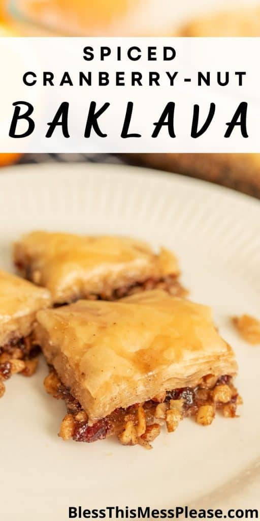 "close up picture of a square of baklava on a plate with the words ""spiced cranberry-nut baklava"" written at the top"