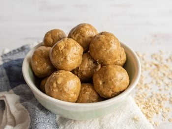 picture of a bowl of peanut butter protein balls