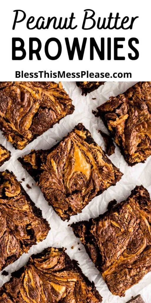 "picture of peanut butter brownie squares with the words ""peanut butter brownies"" written at the top"