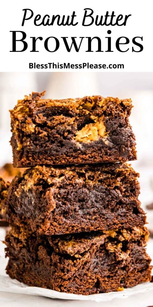 "peanut butter brownies stacked on top of each other with the words ""peanut butter brownies"" written at the top"